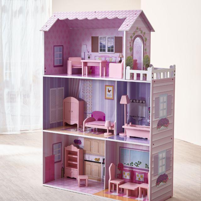 Teamson Kids Maison De Poupee Dream Land En Bois Pour Enfant