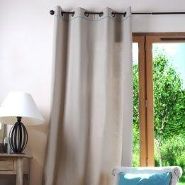 marque generique rideau 135 x h250 cm duo lin et bleu marron pas cher achat vente rideaux. Black Bedroom Furniture Sets. Home Design Ideas