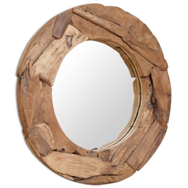 Vidaxl Miroir décoratif Teck 80 cm Rond