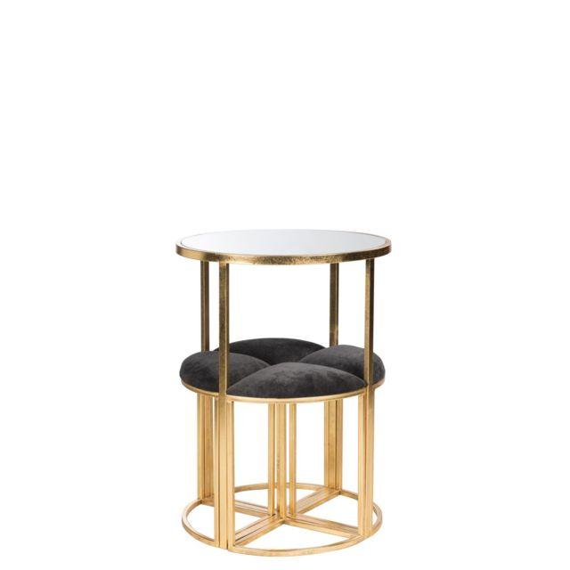La Chaiserie Ensemble table ronde et 4 tabourets assise tissu noir et métal doré