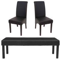 Garniture De Salle A Manger M37 Banc 2x Chaise Similicuir 120x43x49 Cm Noir Pieds Fonces