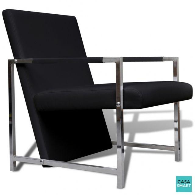 Casasmart Pauka fauteuil noir avec pieds chromés