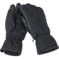 30bae93434995 Myrtle Beach - Gants sport hiver ski softshell paume cuir - Mb7961 - noir -  coupe