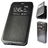 Cabling - Housse Coque Etui Folio View Noir Cuir pour Samsung Galaxy S6 housse etui coque view noir cuir pour samsung galaxy S6
