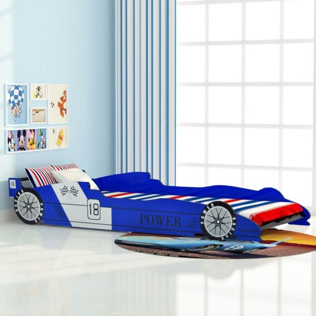 sublime Mobilier pour bébés et tout-petits categorie Amman Lit voiture de course pour enfants 90 x 200 cm Bleu
