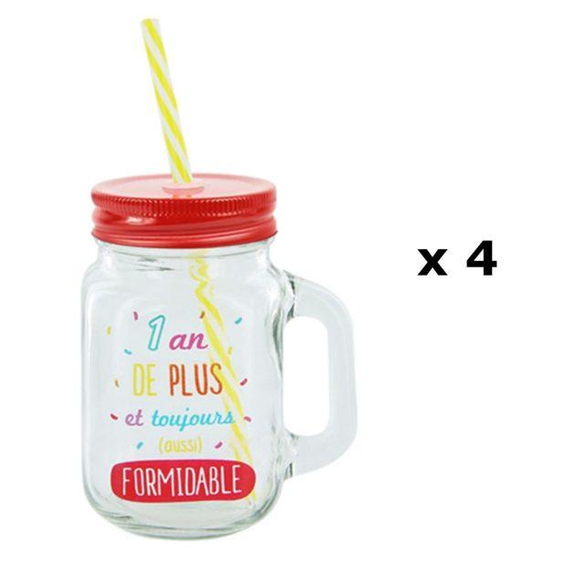 Verre /à cocktailsRhum avec paille 440 ml Lot de 3