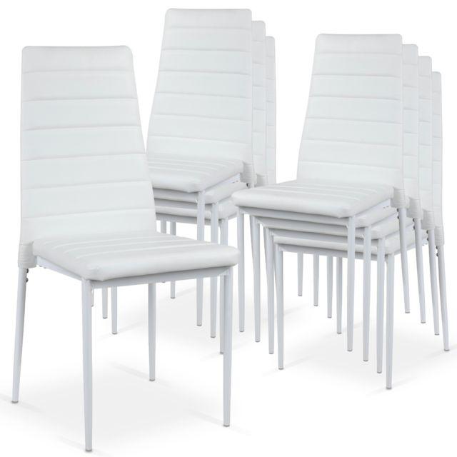 Lot de 8 chaises Strip empilables Blanc