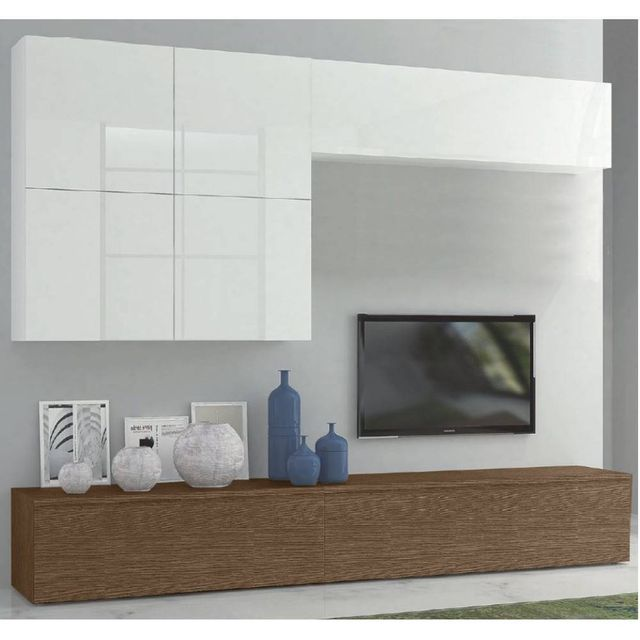 Inside 75 - Composition murale Tv design Sigma noyer et blanc - pas ...