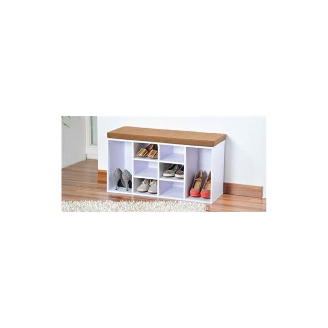 meuble chaussures dintrieur banc avec coussin pour lentre blanc pas cher achat vente rangements chaussures rueducommerce - Banc Interieur Avec Rangement
