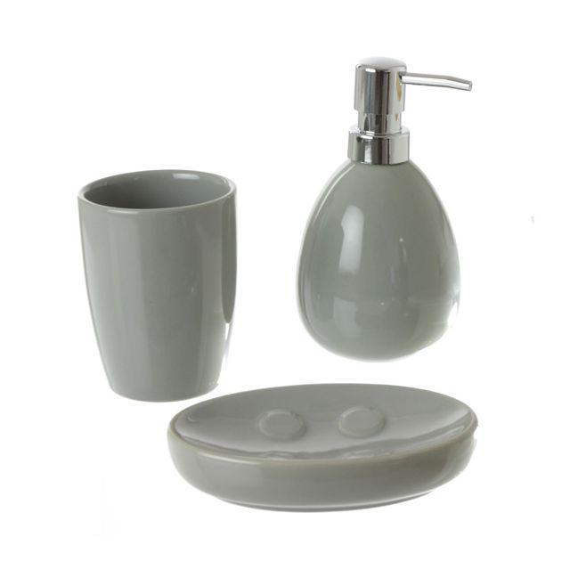 eminza kit d 39 accessoires de salle de bain gris pas cher achat vente accessoires de salle. Black Bedroom Furniture Sets. Home Design Ideas