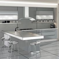 Silverline - Hotte cuisine murale Zinia inox et verre 60 cm