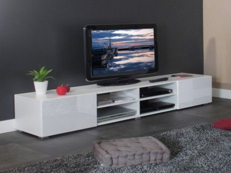 marque generique meuble tv hilaire 4 niches 2 tiroirs coloris blanc
