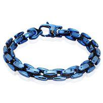 Renobijoux - Bracelet/Chaine homme acier ionisé bleu 22.5cm
