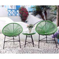 COTE LOUNGE - Acapulco vert - Ensemble chaise œufs et table