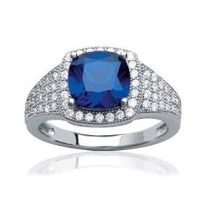 76aaf859581 Collection Zanzybar - Bague collection Diana argent rhodié et pierre bleue saphir  Taille - 50