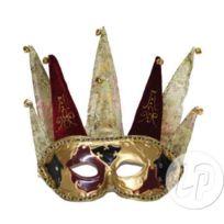 Coolminiprix - Masque vénitien 8 pointes à grelots noir et or - Qualité