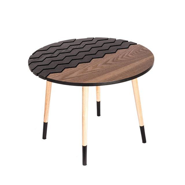 Delicieux The Concept Factory   Table Ronde Noire Et Bois Naturel Beige, Noir   75cm X