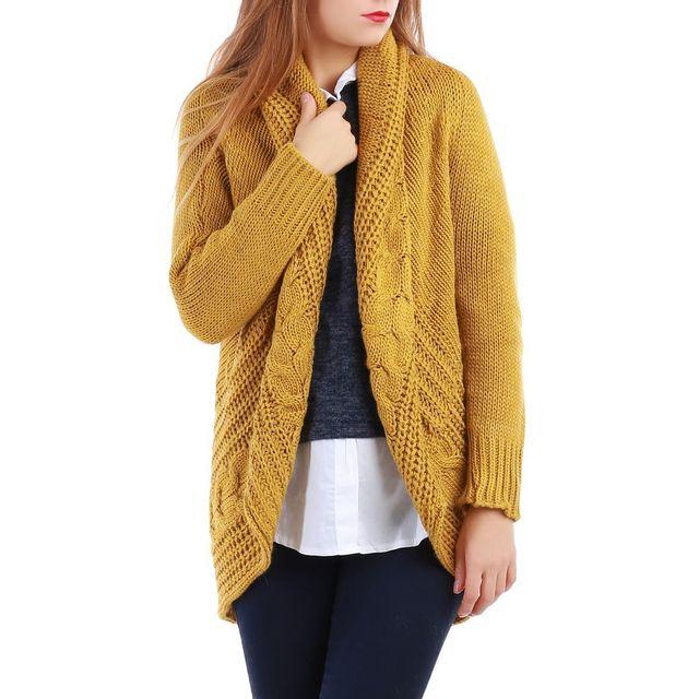 sélection premium 97196 97196 La Modeuse - Gilet jaune moutarde en grosse maille et grand ...