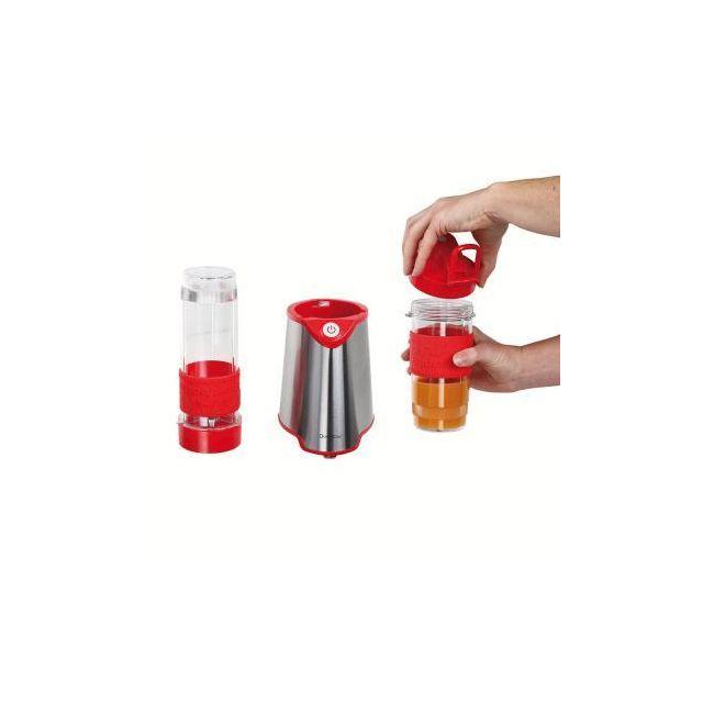 DOMOCLIP Blender individuel rouge - DOP170R Blender individuel rouge - 2 gobelets mélangeur - 570 ml et 400 ml servant de gourde