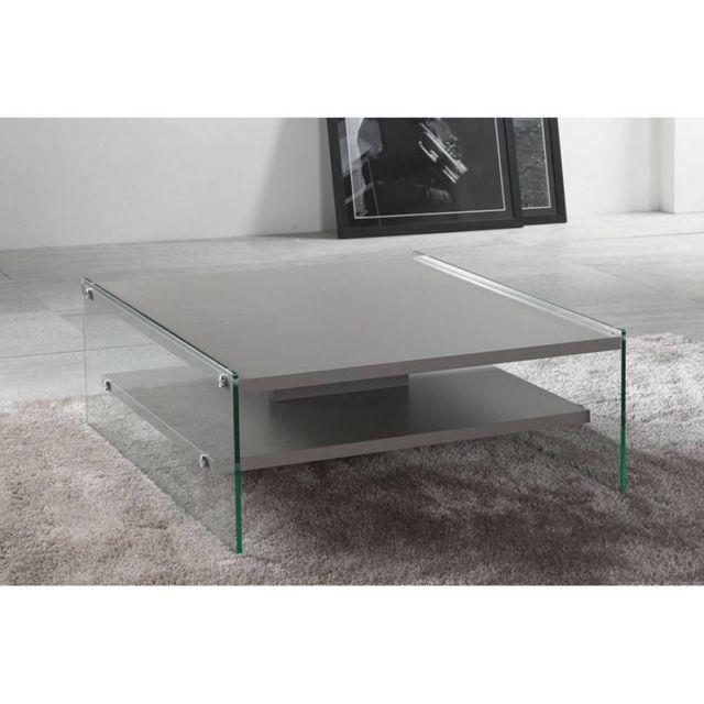Inside 75 Table basse Bella 2 plateaux gris piétement en verre