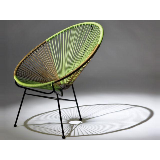 HABITAT ET JARDIN Lot de 2 fauteuils de jardin Ovaly - Vert/doré