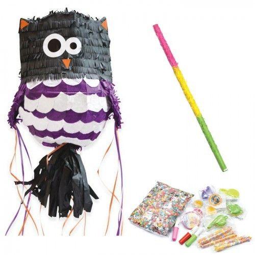 Scrapcooking Pour rendre votre fête mémorable, cette piñata en forme de chouette et son baton pour dévoiler tous les cadeaux cachés à