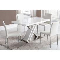 Kasalinea - Table de salle à manger extensible blanc laqué et argent design  Snow 5bbb034f7a0b