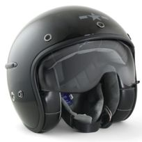 Harisson - casque jet moto scooter fibre noir brillant - Ca101