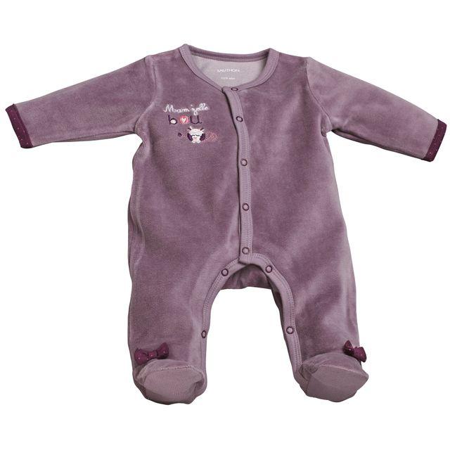 Sauthon - Pyjama bébé blanc violet naissance Mam zelle Bou - pas ... 386c7c93406