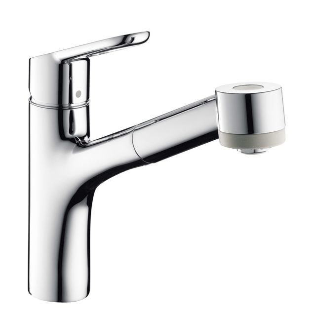 hansgrohe mitigeur d 39 evier de cuisine status azb avec douchette chrome pas cher achat. Black Bedroom Furniture Sets. Home Design Ideas