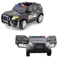 Voiture Electrique - Voiture électrique 4x4 enfant 12 volts Police luxe pneus en gomme Eva