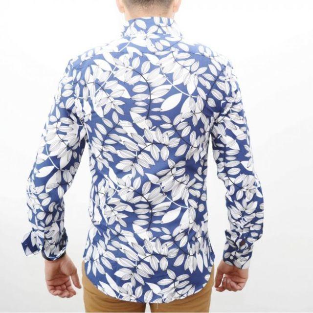 prestige man chemise homme slim fit marine a grands motifs pas cher achat vente chemise. Black Bedroom Furniture Sets. Home Design Ideas