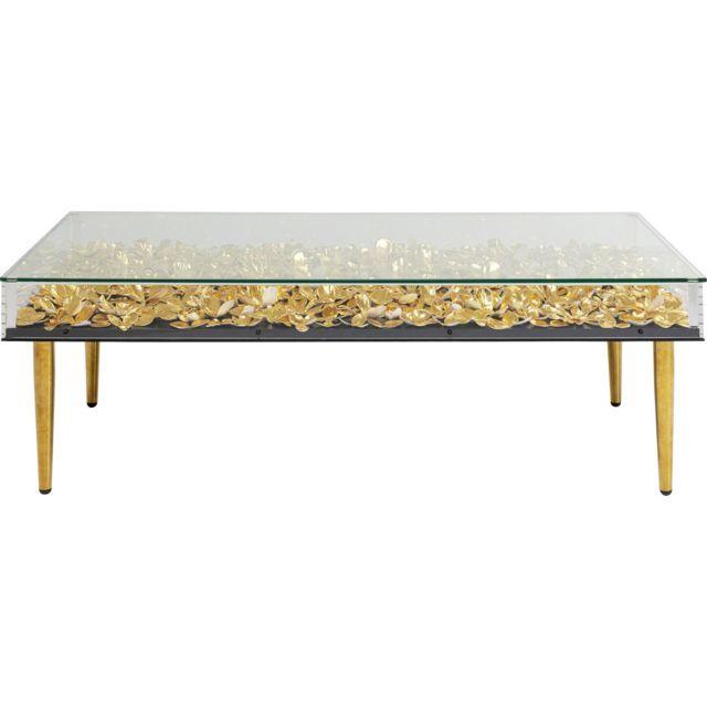 Karedesign Table basse 3D fleurs dorées 120x60cm Kare Design