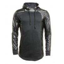 Terance Kole - Sweat noir oversize effet cuir et capuche