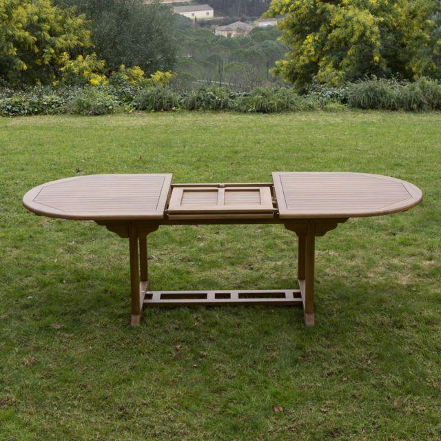 GreenPath - Table de jardin ovale extensible en Teck 180/240x100cm ...