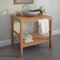 Meuble-lavabo de salle de bains Teck massif 74x45x75 cm   Brun - Meubles  lavabos - Armoires et meubles de rangement   Brun   Brun