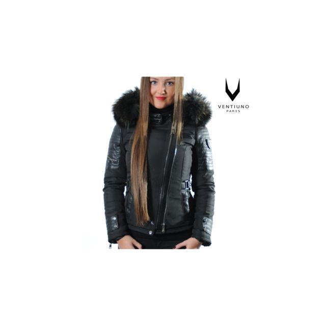 63923dfc3ac Ventiuno - Belucci - Bellucci Veste doudoune perfecto fourrure véritable  Noir ton gris taille Max - cuir d agneaudoudoune