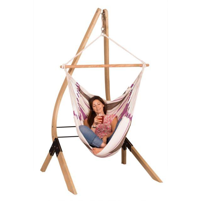 La Siesta - Chaise-Hamac Basic CaribeÑA purple + Support en bois Vela