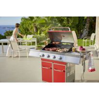 LE BARBECUE - Barbecue gaz GZ400R - 4 feux - 14 kW - Rouge