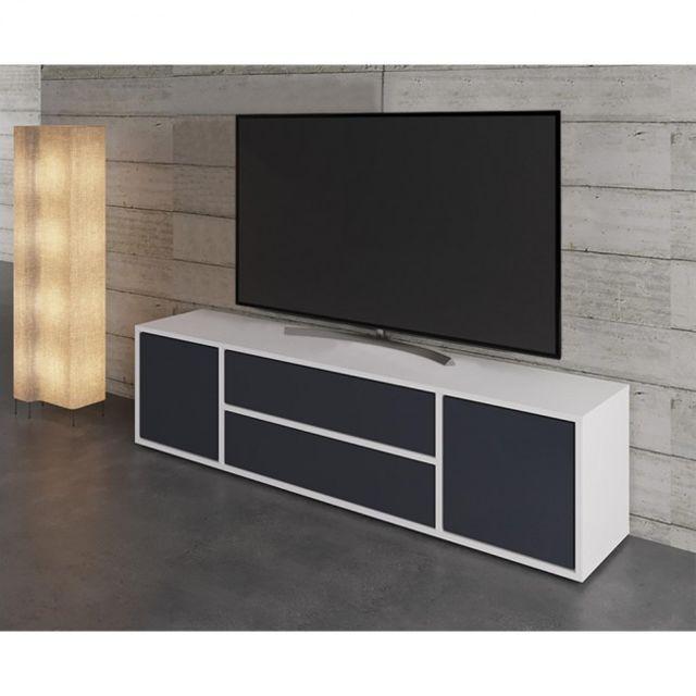 Mpc Meuble Tv Blanc Mat Et Anthracite 154 Cm Pas Cher Achat