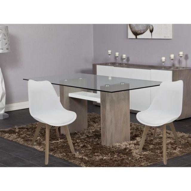 Bjorn Scandinave 48 57 de a x chaises salle Simili manger L Lot Chaise blanc P de cm 2 N0Pk8nwOX