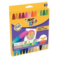 Bic Kids - etui de 24 pastels à l'huile - couleurs assorties dont fluo et métalliques