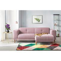 BOBOCHIC - Canapé LUNA avec Pouf - Style Scandinave - Rose poudré