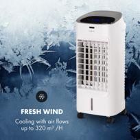 Coolster Rafraîchisseur d'air avec ventilateur et ioniseur - 3 niveaux de puissance - Réservoir 4 litres -Puissance 65W - Télécommande - Minuterie - Blanc