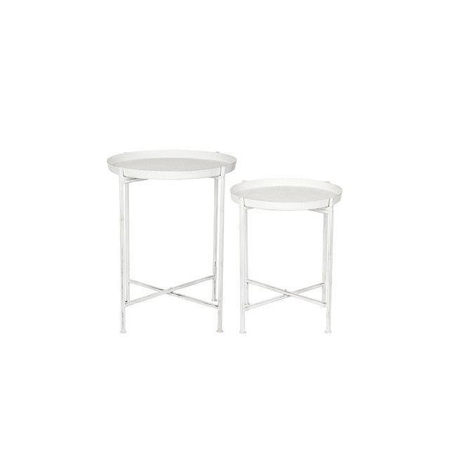 Set de 2 tables gigognes en métal blanc