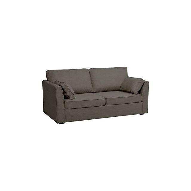 Canapé 3 places fixes en polyester noir - Charles
