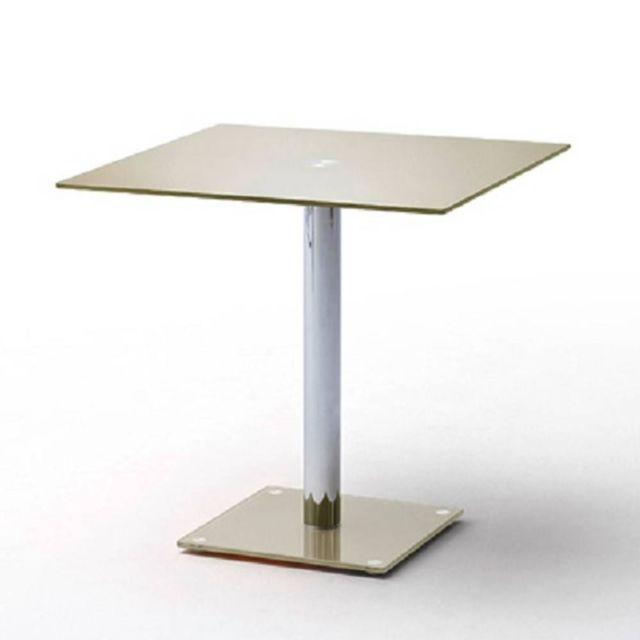 Inside 75 Table repas carrée design Fani en verre taupe 80 x 80 cm