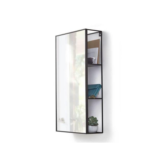 Sologne Miroir rectangulaire avec étagère de rangement en métal 30.5x12.9x60.9cm Cubiko