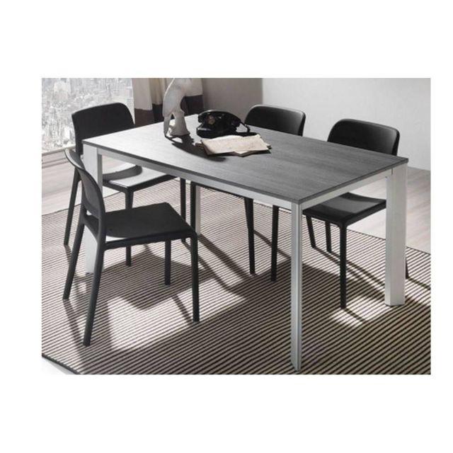 Inside 75 Table repas extensible Tecno 130 x 80 cm en polymère finition ciment et aluminium naturel anodisé