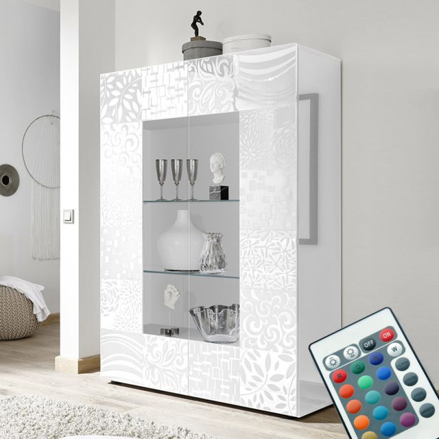 Kasalinea Vaisselier lumineux design blanc laqué Nerina
